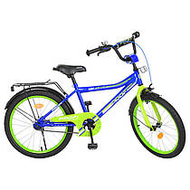 Детский двухколесный велосипед PROFI 20 дюймов синий с салатовым, Y20103 Top Grade