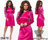 Атласное платье со съемным поясом размеры S-L, фото 1