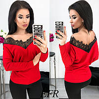 Красивая женская свободная кофточка свитер с кружевом и длинным рукавом красная S-M-L, фото 1
