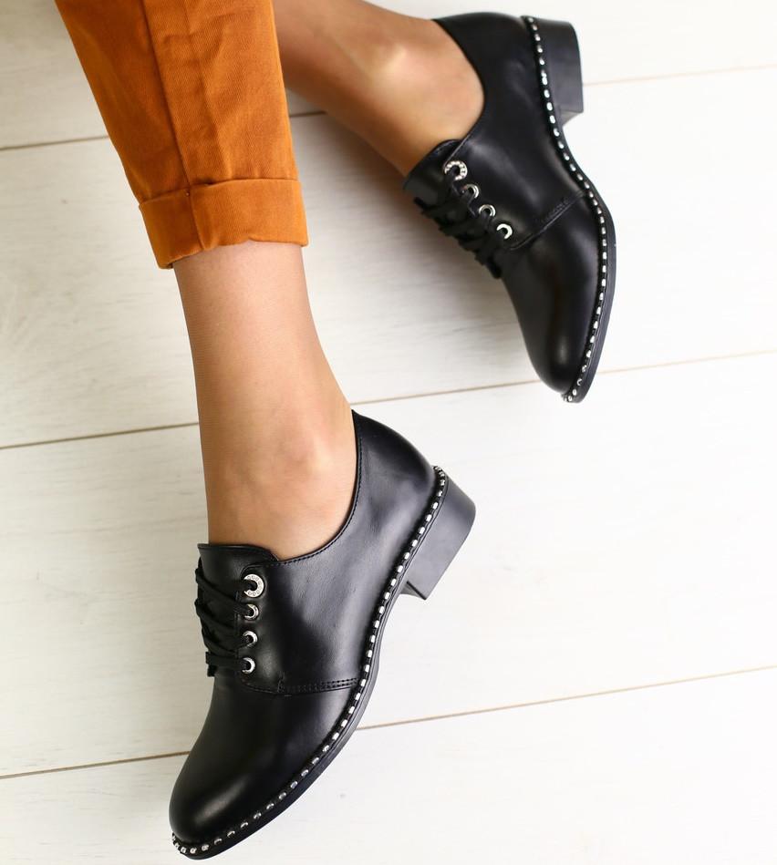 2de5eedc1 Модные женские кожаные туфли на низком ходу на квадратном каблуке со  шнуровкой черные 2019 NS73KJ11IG -