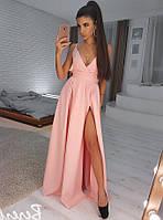 Розовое вечернее платье макси VL5052 S. Размер 42.