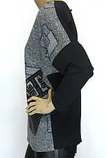 """Жіночий реглан-світшот оversize з принтом ,, вязка """" , фото 3"""