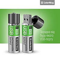 Акумулятор 18650 ColorWay 18650 USB 1200 мАЧ 3.7В (Li-Polymer) (2шт), 3.7V±0.2V