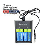AA пальчиковый Etinesan литий-ионные аккумулятор 1,5В 3000mWh + зарядка 4 шт