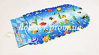 Детский коврик на присосках противоскользящий камни (синий с рыбками)