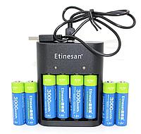AA пальчиковый Etinesan литий-ионные аккумулятор 1,5В 3000mWh + зарядка 8 шт