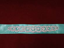 Пояс с камнями Swarovski для свадебного/вечернего платья мятный