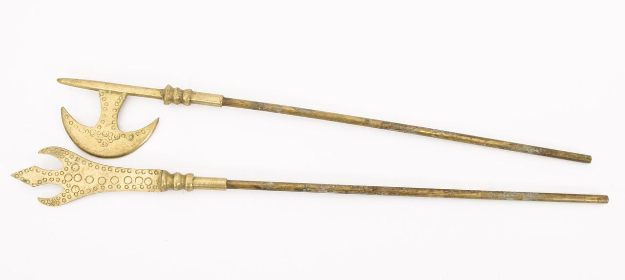 Бронзовая алебарда и копье, средневековое оружие, бронза, латунь, Германия