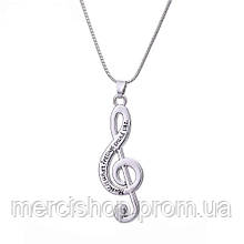 "Кулон/подвеска ""Скрипичный ключ"" + цепочка (""Music is what feelings sound like"""