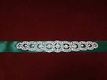Пояс с камнями Swarovski для свадебного/вечернего платья изумрудный (зеленый)