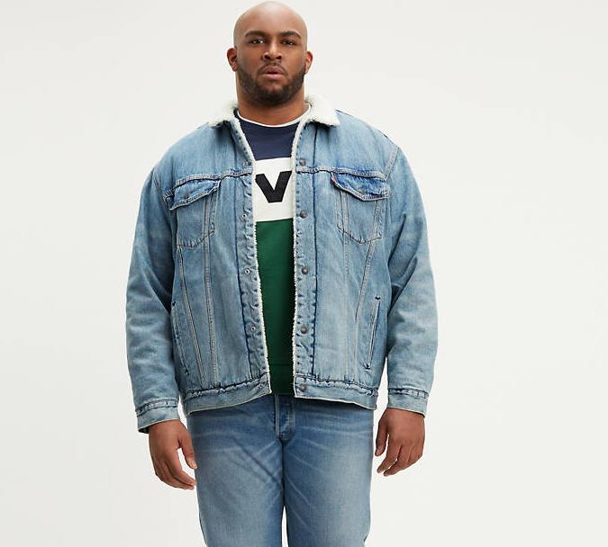 Зимняя джинсовая куртка Levis Trucker -  Light Wash (большие размеры)