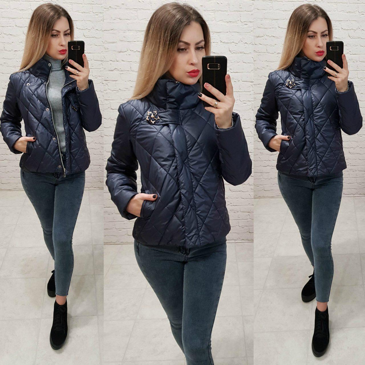 Куртка ветровка утепленная  арт. 502 темно синий