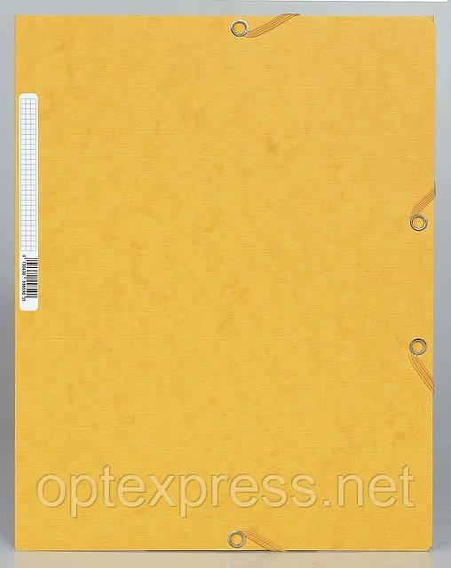 Папка на резинке из тисненного картона EXACOMPTA желтая