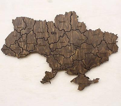 Карта Украины на стену тонированная с фанеры