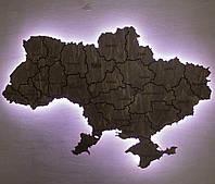 Карта Украины на стену с подсветкой, фото 1