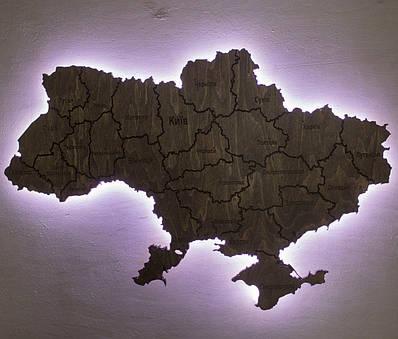Карта Украины на стену с подсветкой