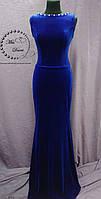 Вечернее платье/выпускное платье из бархата синее (электрик)