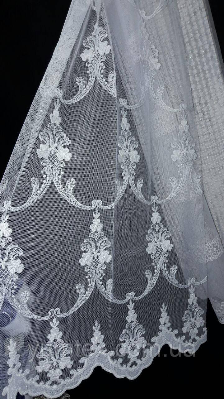 """Тюль вышивка на фатине """"Коронка венецианка"""", цвет молочный модель 240102"""