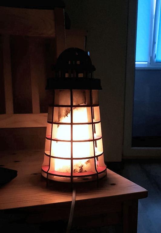 Соляной светильник Маяк деревянный