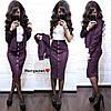 Юбочный женский костюм из замши с жакетом 9KO979