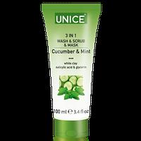 Средство по уходу за кожей лица 3 в 1 гель для умывания пиллинга или маски для лица 100 мл Unice