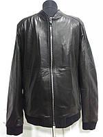 Куртка мужская чёрного цвета из натуральной кожи под резинку  длина 65см 48р -50р