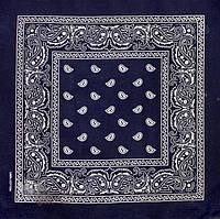 Бандана універсальна літня з принтом на голову унісекс класична темно-синя