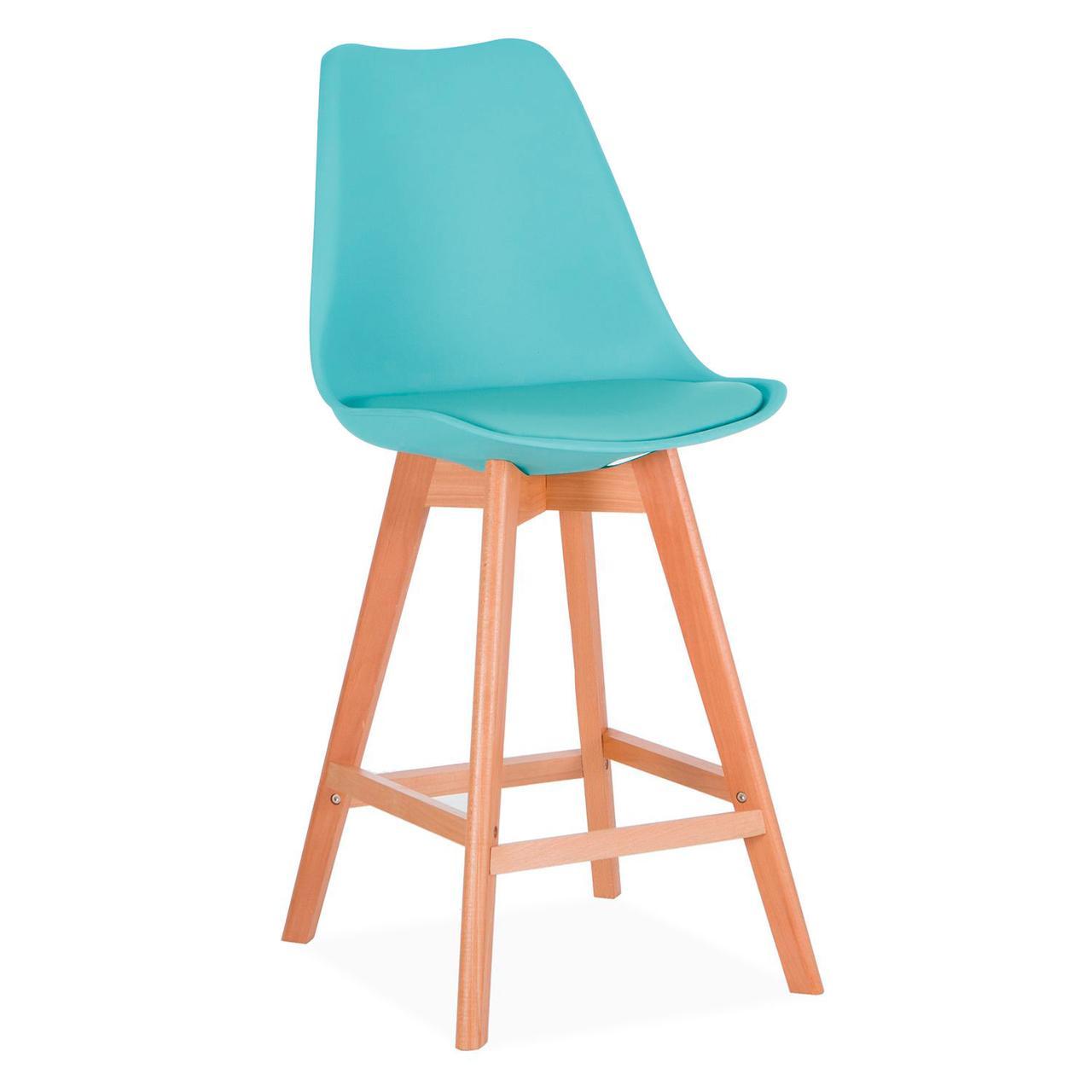 Барный стул Элиос голубой SDM Group с ножками из бука, сиденье с подушкой