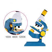 Детский обучающий набор - микроскоп, аксессуары, свет, увеличение 100, 400, 1200,  С 2123, фото 1