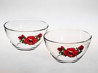 Набор стеклянных салатниц 13 см «Сидней» 2 предметный рисунок цветы в ассортименте., фото 1