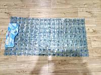 Большой коврик на присосках противоскользящий камни (прозрачный голубой) 90*45 см K0014