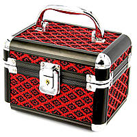 Шкатулка сундук металлическая черно красная средняя с узором в форме ромба S8139-2