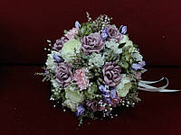 Свадебный букет-дублер лиловый с айвори и розовым