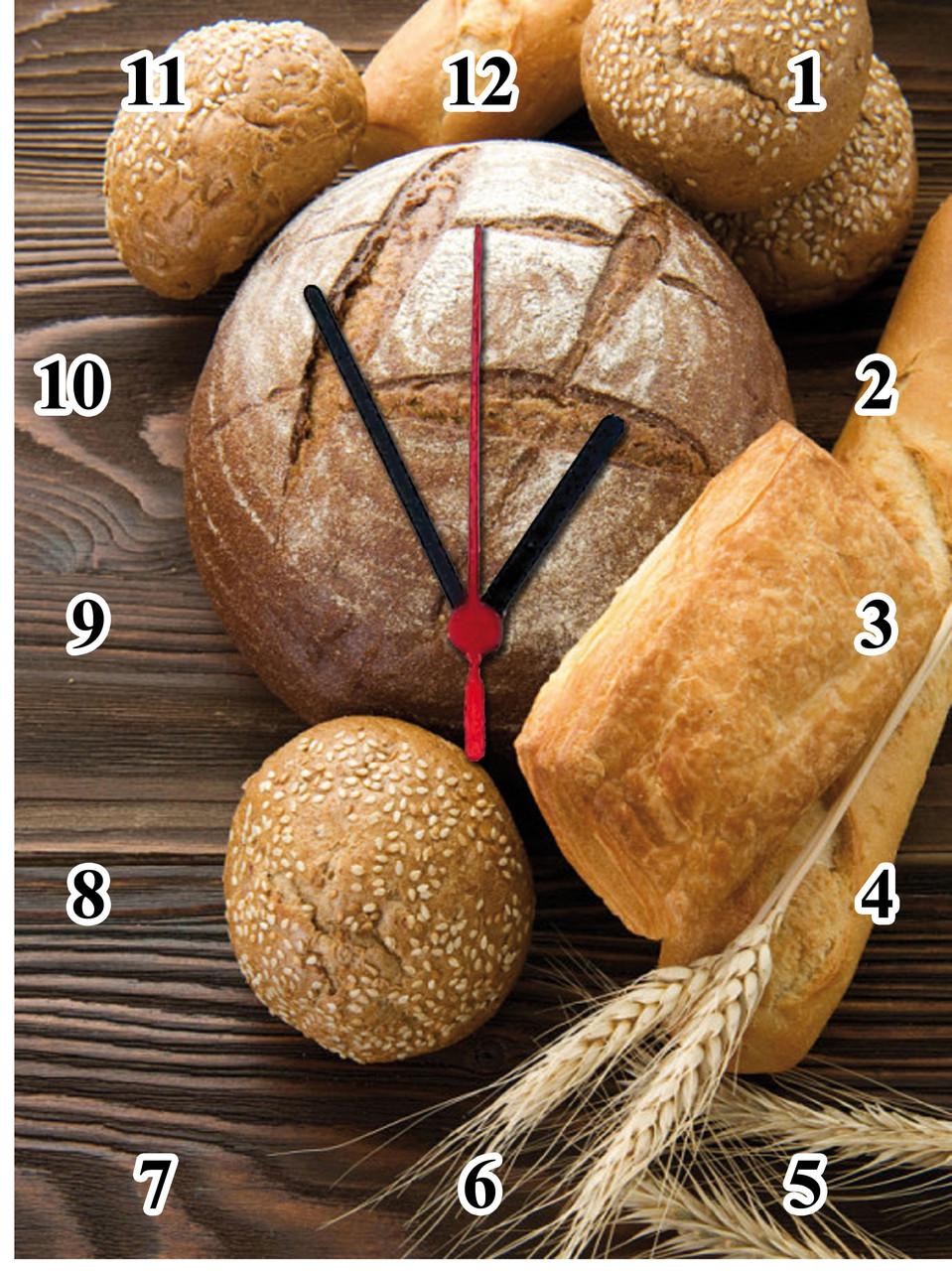 """Настінні годинники МДФ кухонні """"Хліб"""" кварцові"""