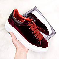 Женские кроссовки Adidas Alexander McQueen Oversized бордовые. Живое фото (Реплика ААА+), фото 1