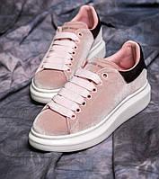Женские кроссовки Adidas Alexander McQueen велюр розовые. Живое фото (Реплика ААА+), фото 1
