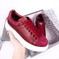 Женские кроссовки Adidas Alexander McQueen leather бордовые. Живое фото (Реплика ААА+), фото 1
