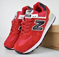 Женские кроссовки New Balance 574 красные. Живое фото (Реплика ААА+), фото 1