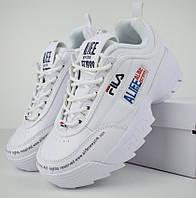Женские кроссовки в стиле Fila Disruptor 2 x ALIFE белые. Живое фото, фото 1