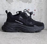 Мужские кроссовки Balenciaga Triple S Triple Black. Живое фото (Реплика ААА+), фото 1