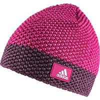 Шапка спортивная женская adidas W CH Beanie M66811 (розовая, вязаная, теплая, однослойная, с логотипом адидас)