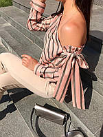 Шифоновая блузка в полоску с открытым плечом