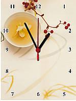 """Настенные часы МДФ кухонные """"Цветочный чай"""" кварцевые, фото 1"""