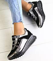 Модные женские кожаные кроссовки кеды на танкетке на платформе никель черные замшевые вставки SK57GT06IR