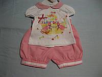 Детский летний костюмчик для маленькой девочки 62-68 см рубашка и шорты  Турция