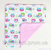 """Детское хлопковое одеяло 80 х 85 см, """"Нежные совушки"""" розовый"""