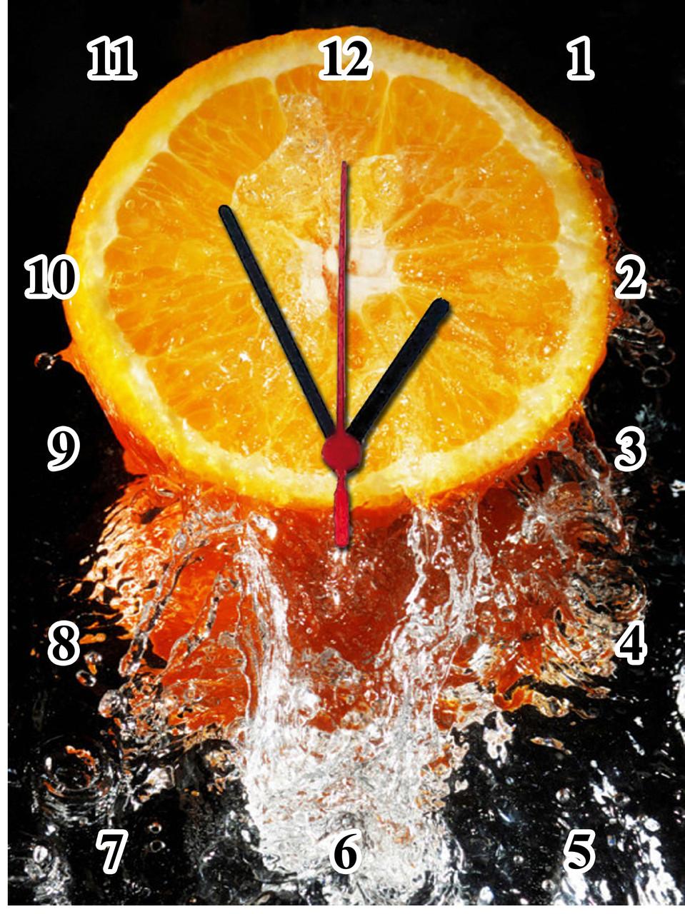 """Настенные часы МДФ кухонные """"Апельсиновая свежесть"""" кварцевые"""