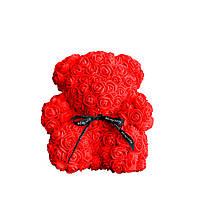 Мишка из роз в коробке 25 см - КРАСНЫЙ