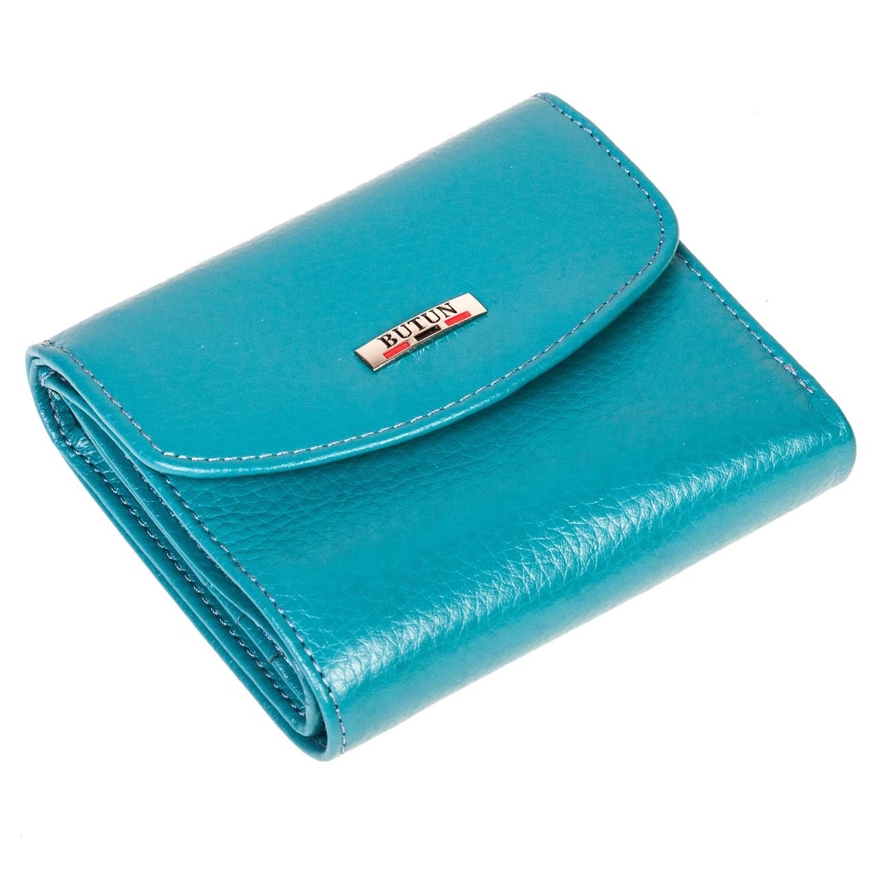 Женский кошелек кожаный бирюзовый Butun 584-004-050