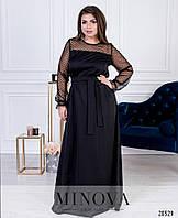 Длинное платье женское Костюмка и сетка Размер 42 44 46 48 50 52 54 56 В наличии 3 цвета, фото 1